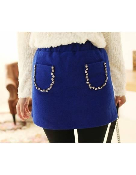 Jupe courte bleue strass