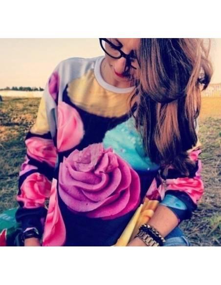 Pull fleurs multicouleur