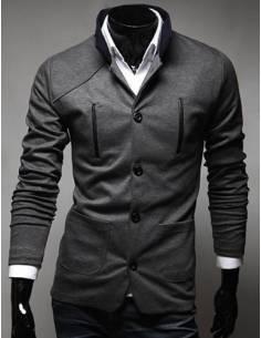 Veste Style Poche Design Col montant