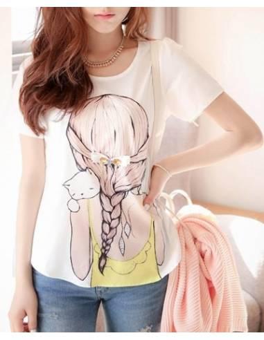 Tee-Shirt imprimé fille et chat