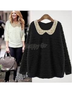 Pull coll claudine paillettes