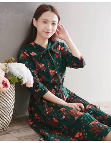 Robe japonaise verte style mori