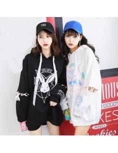 Sweat japonais ample capuche lapin