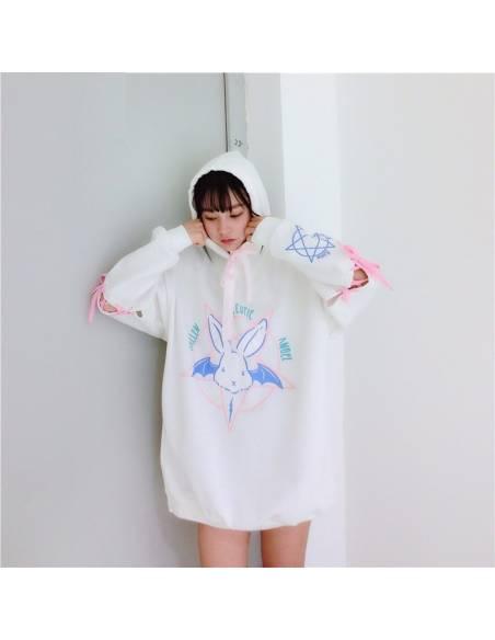 Sweat japonais ample capuche lapin