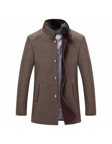 Manteau laine col mao fourrure