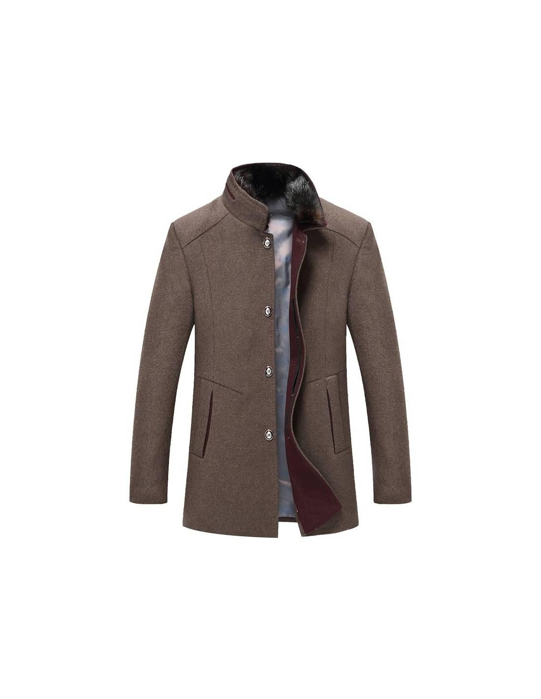 dégagement fabrication habile site réputé Manteau laine col mao fourrure