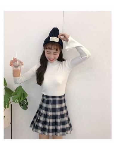 Jupe coréenne à carreaux