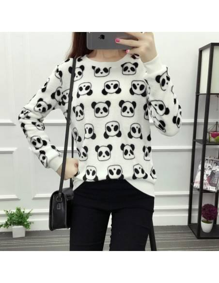 Pull japonais imprimé panda