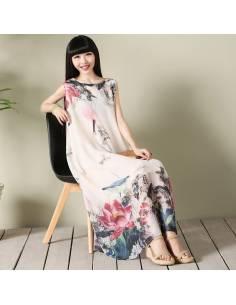 Robe coréenne mousseline fleurs