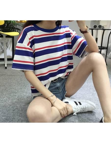 T-Shirt coréen rayures bleues et rouges