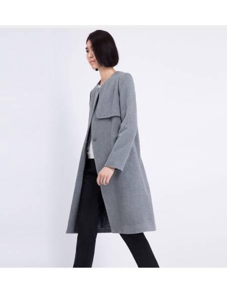 Manteau casual col ras de cou