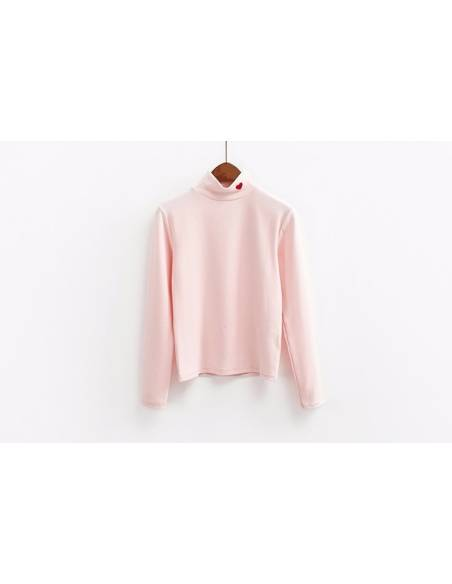 Pull col montant coeur rouge