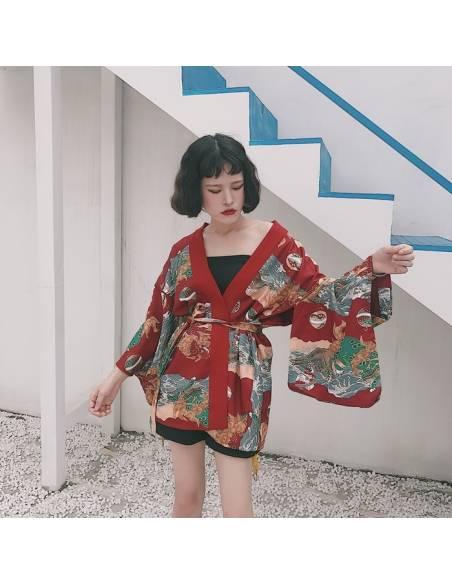 Kimono japonais été rouge