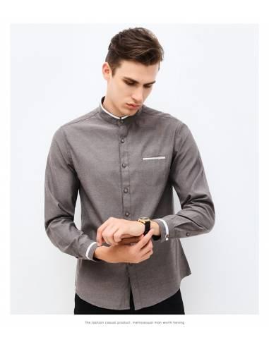 Chemise col mao poche liseré blanc