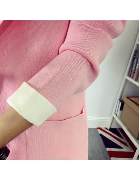 Manteau cardigan tissu rose