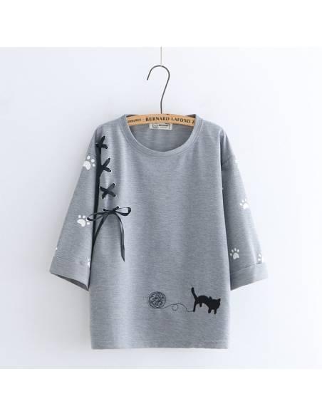 T-shirt trois lacets chat