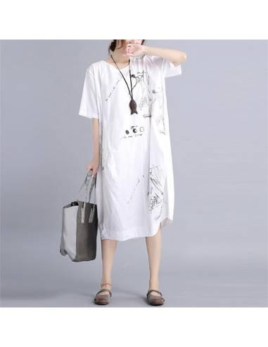 Robe tunique japonaise coréenne impression relax - blanc pose