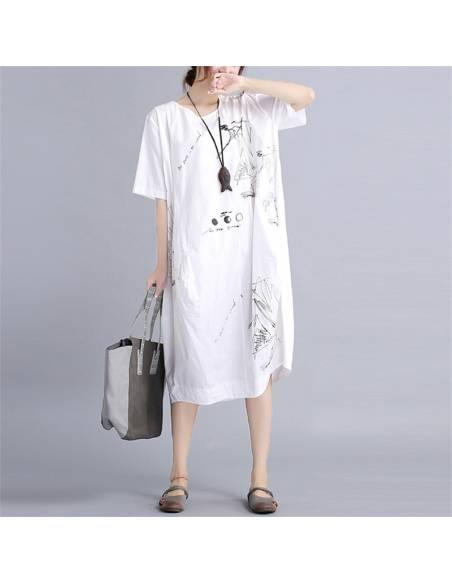 Robe tunique impression graphique