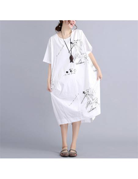 Robe tunique japonaise coréenne impression relax - blanc face