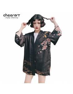 Kimono japonais Noir Poissons Carpe Impression - noir vue face fond blanc