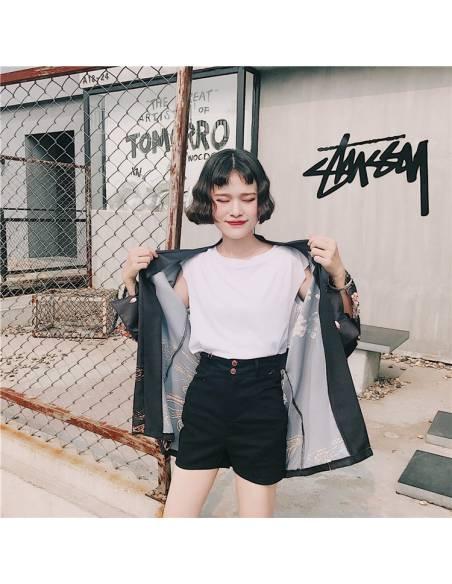 Kimono japonais Noir Poissons Carpe Impression - noir vue face rue 3
