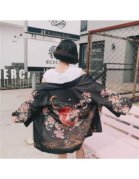 Kimono japonais Noir Poissons Carpe Impression - noir vue dos rue 1