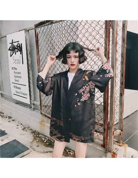 Kimono japonais Noir Poissons Carpe Impression - noir vue face rue 1