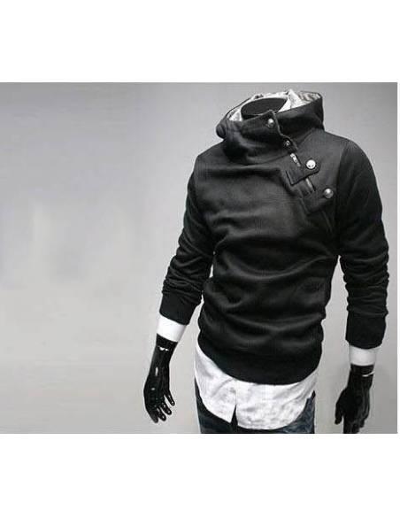 Sweat japonais coréen Décontracté Zipper Col Haut - noir vue profil