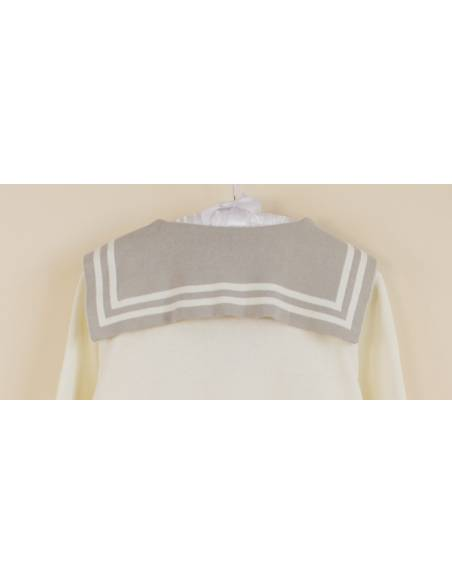 Vetement japonais coréen -Cardigan uniforme scolaire col marin - gris dos