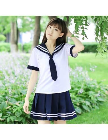 Vetement japonais coréen - Uniforme scolaire cravate costume de Marin - vue tete