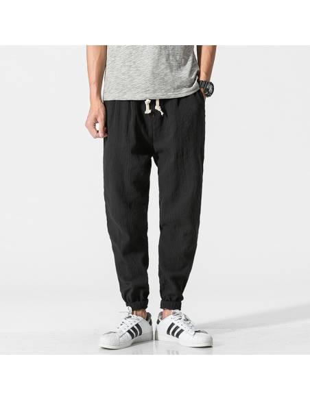 Vetement japonais - Pantalon Coton Lin Casual Harem - noir face 2