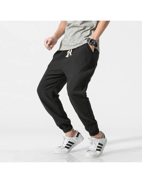 Vetement japonais - Pantalon Coton Lin Casual Harem - noir plié