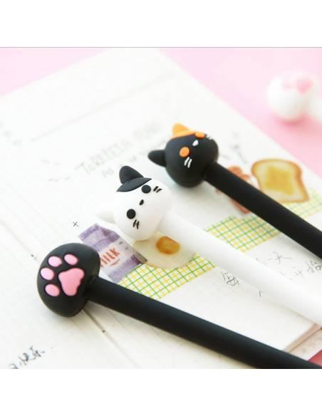 Stylo japonais coréen kawaii tête de chat - noir blanc