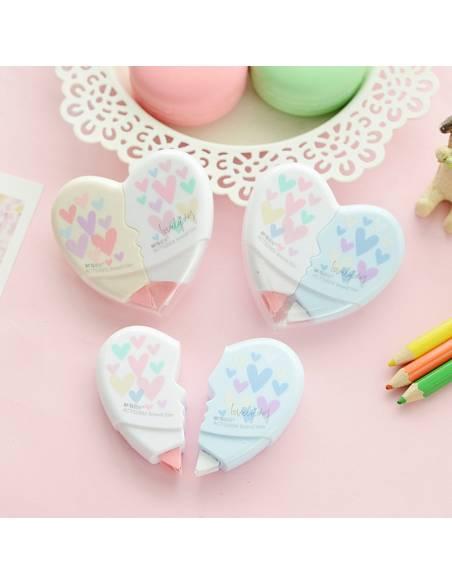 Papeterie japonaise coréenne - Correcteur bande forme Coeur fermé