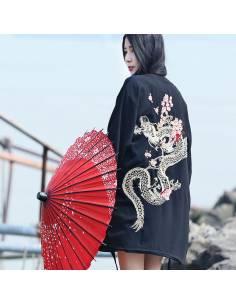 Kimono japonais - vintage été Harajuku dragon broderie - noir dos debout