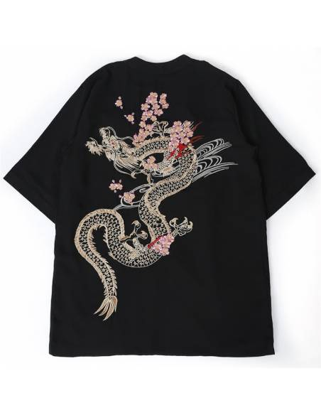 Kimono japonais - vintage été Harajuku dragon broderie - noir dessus