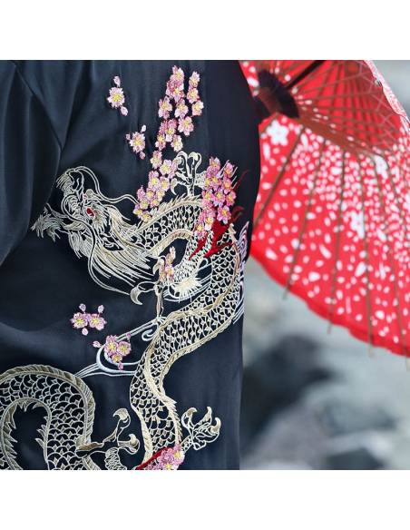 Kimono japonais - vintage été Harajuku dragon broderie - noir zoom dragon