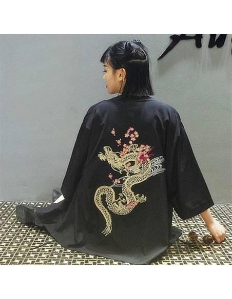Kimono japonais - vintage été Harajuku dragon broderie - noir dos