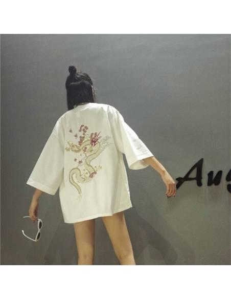 Kimono japonais - vintage été Harajuku dragon broderie - blanc dos