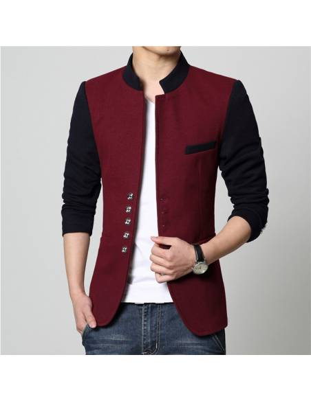 Blazer japonais Col Mao Casual slim fit - rouge face