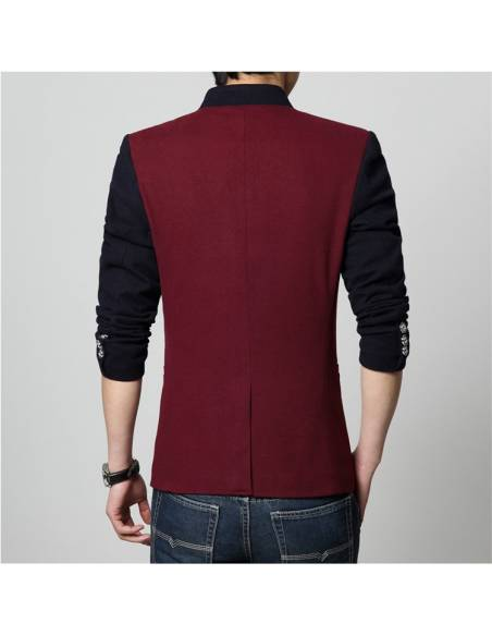 Blazer japonais Col Mao Casual slim fit - rouge dos