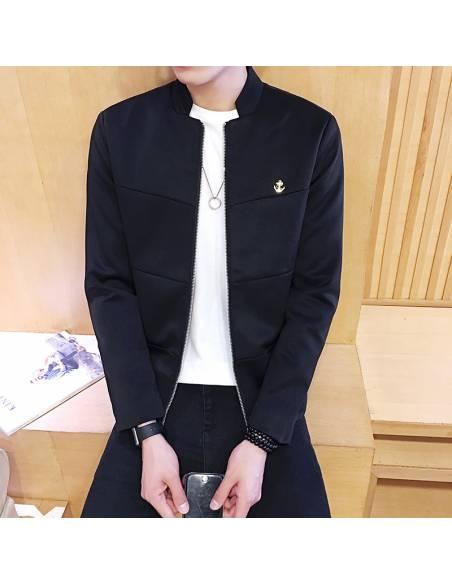 Veste japonaise coréenne - Slim Fit Casual Col Mao - noir face