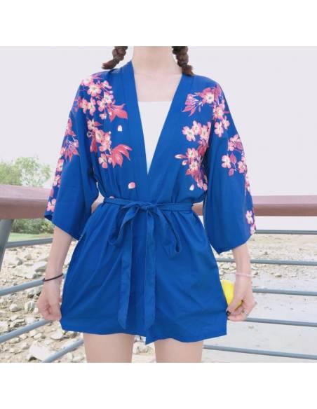 Kimono japonais Manches courtes Col V Poissons - bleu face