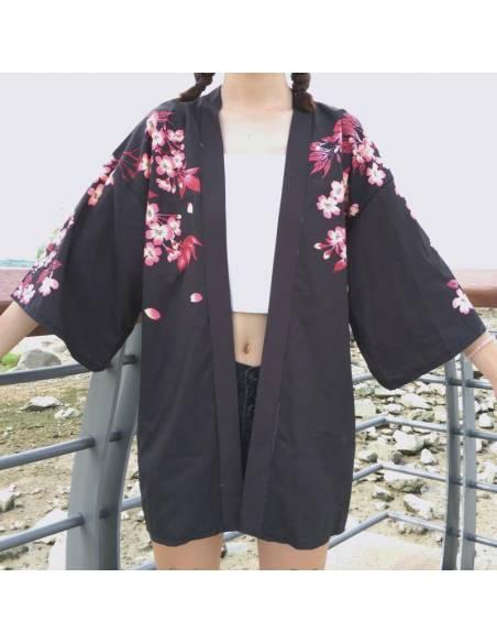 Kimono japonais Manches courtes Col V Poissons - noir face