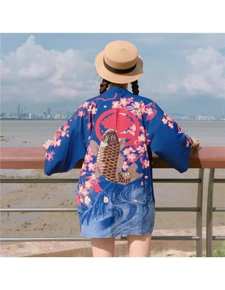 Kimono japonais Manches courtes Col V Poissons - bleu dos