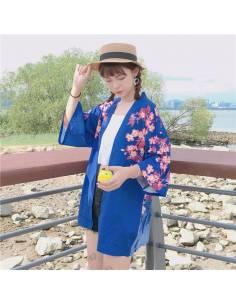 Kimono japonais Manches courtes Col V Poissons - bleu biais