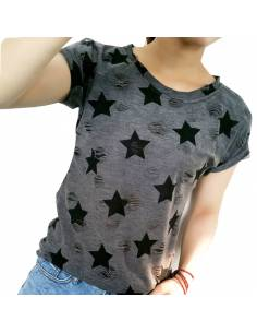 Vetement japonais coréen - T-shirt étoiles vintage casual - noir étoile biais