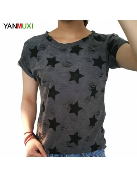 Vetement japonais coréen - T-shirt étoiles vintage casual - noir face
