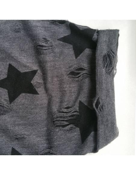Vetement japonais coréen - T-shirt étoiles vintage casual - noir manche