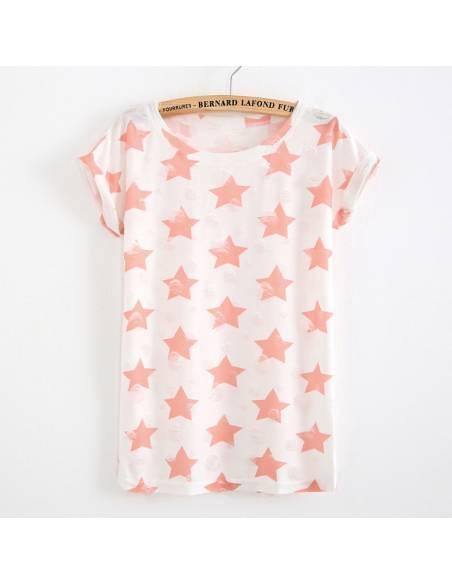Vetement japonais coréen - T-shirt étoiles vintage casual - rose étoile